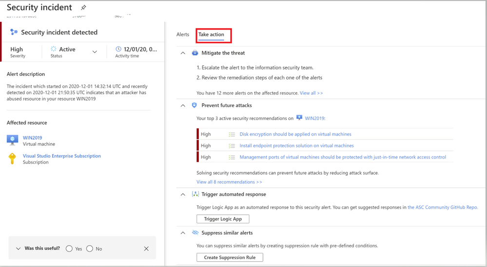 Image 4: Take action Tab of Azure Security Center