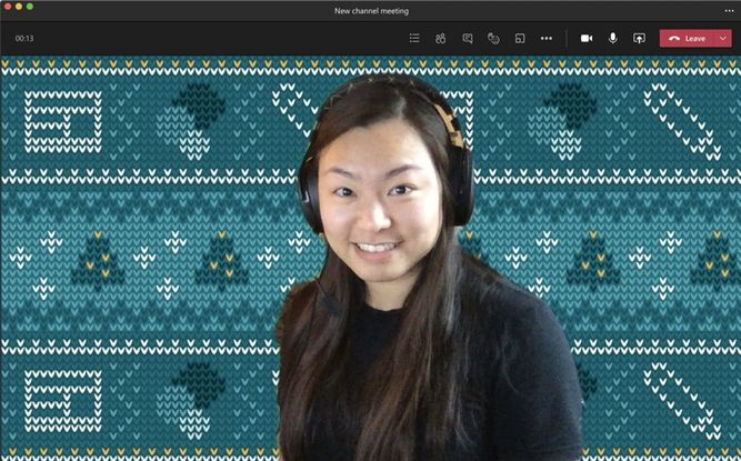 Wenvi Hidayat's Teams background – SharePoint holiday sweater (Christmas theme).