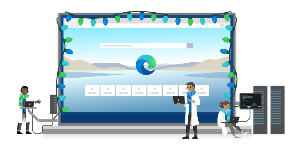 Cartoon Microsoft engineers working on Edge, with blue, green and teal lights around an image with the browser launch screen