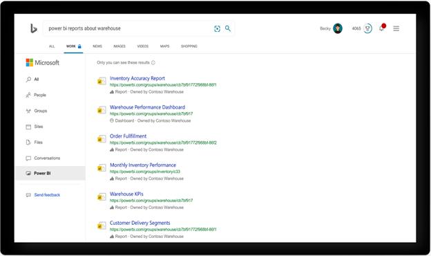 Power BI search in Microsoft Bing