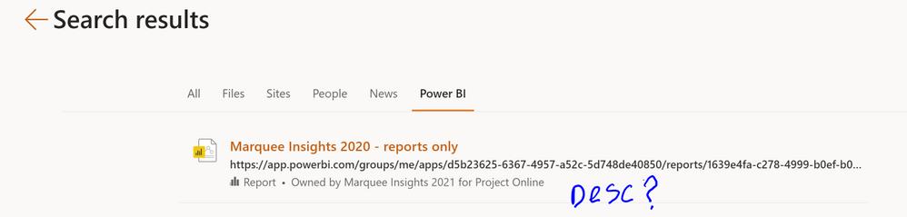 No Description is seen here in Microsoft Search results.