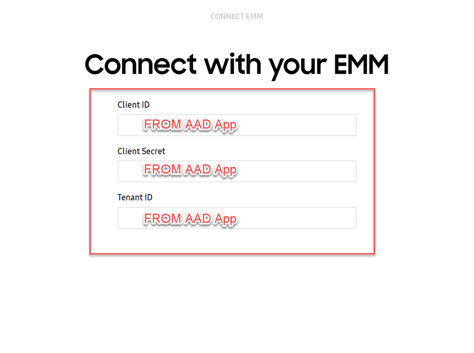 Connect with your EMM dialog box