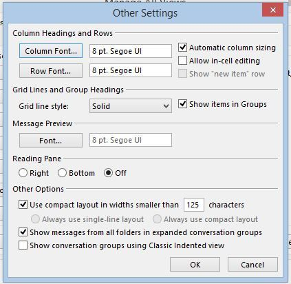 Outlook settings - No Header row showing.JPG