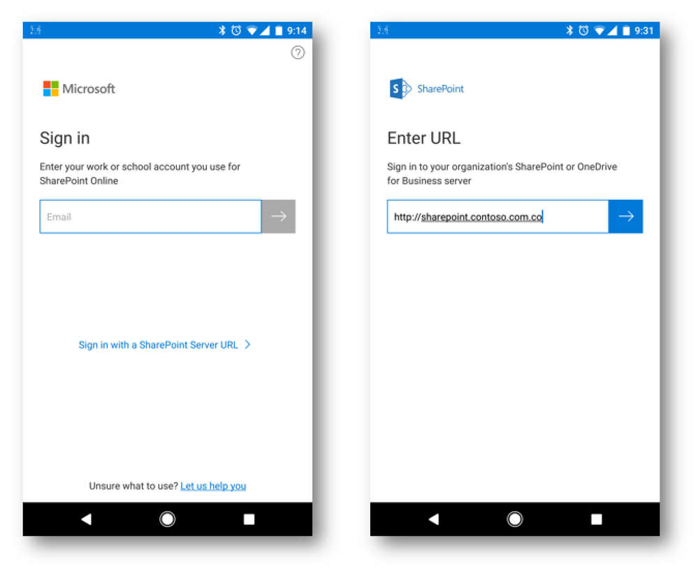 The SharePoint app supports logging in to SharePoint Online, SharePoint Server on-premises, and hybrid configurations.