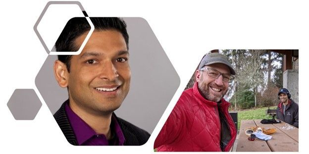 Tejas Mehta, principal program manager at Microsoft (SharePoint + Teams integration) [Intrazone guest]; myself and Tejas social-distanced, 6ft-pic-nic table-apart	 podcasting at Sammamish Commons.