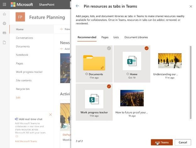 thumbnail image 6 captioned Choose what SharePoint lists, libraries, and pages to bring into Microsoft Teams as tabs in the new, default General channel when adding Teams to your SharePoint team site.