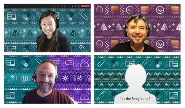 Some examples of what the cozy Microsoft-365-app-inspored holiday backgrounds look like in Microsoft Teams; clockwise from top left: Wenvi Hidayat + SharePoint + Christmas, Ben Truelove + Lists + Christmas, Mark Kashman + SharePoint + Hanukkah + Teams, and YOU + SharePoint.