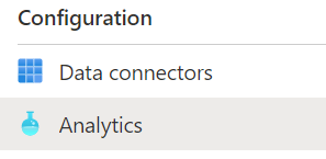 Azure Sentinel Analytics menu