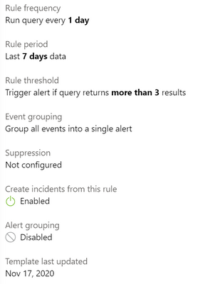 Rule template settings for a scheduled rule