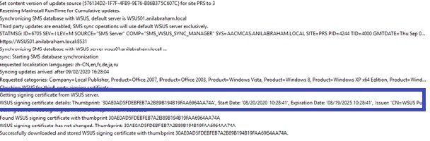 Wsyncmgr.log on CAS