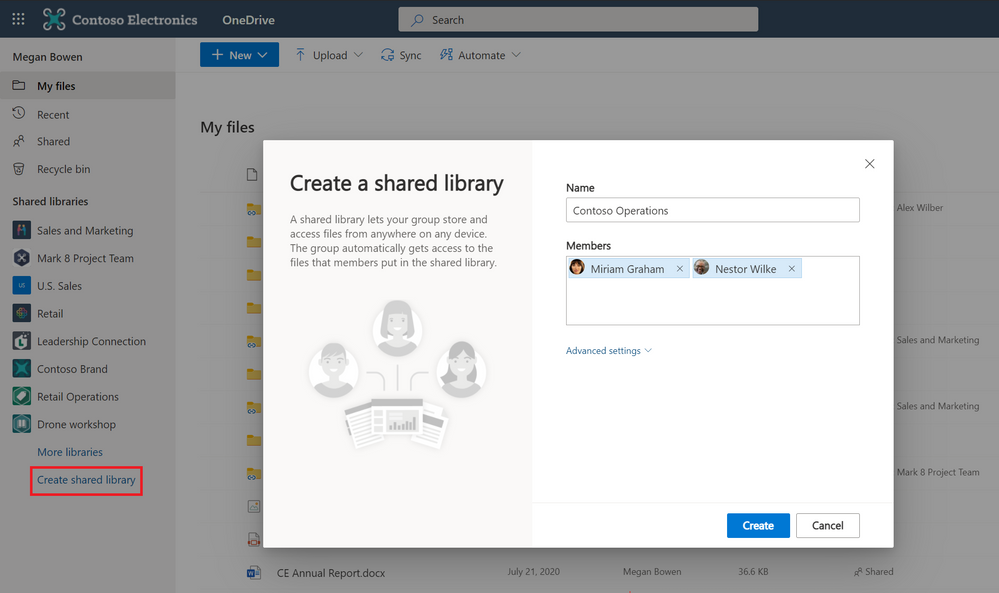 Create shared libraries from directly within OneDrive on web.
