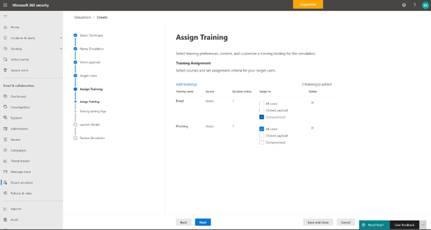 thumbnail image 7 of blog post titled Attack simulation training in Microsoft Defender for Office 365 now Generally Available