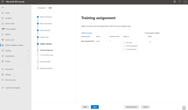 thumbnail image 9 of blog post titled Attack simulation training in Microsoft Defender for Office 365 now Generally Available