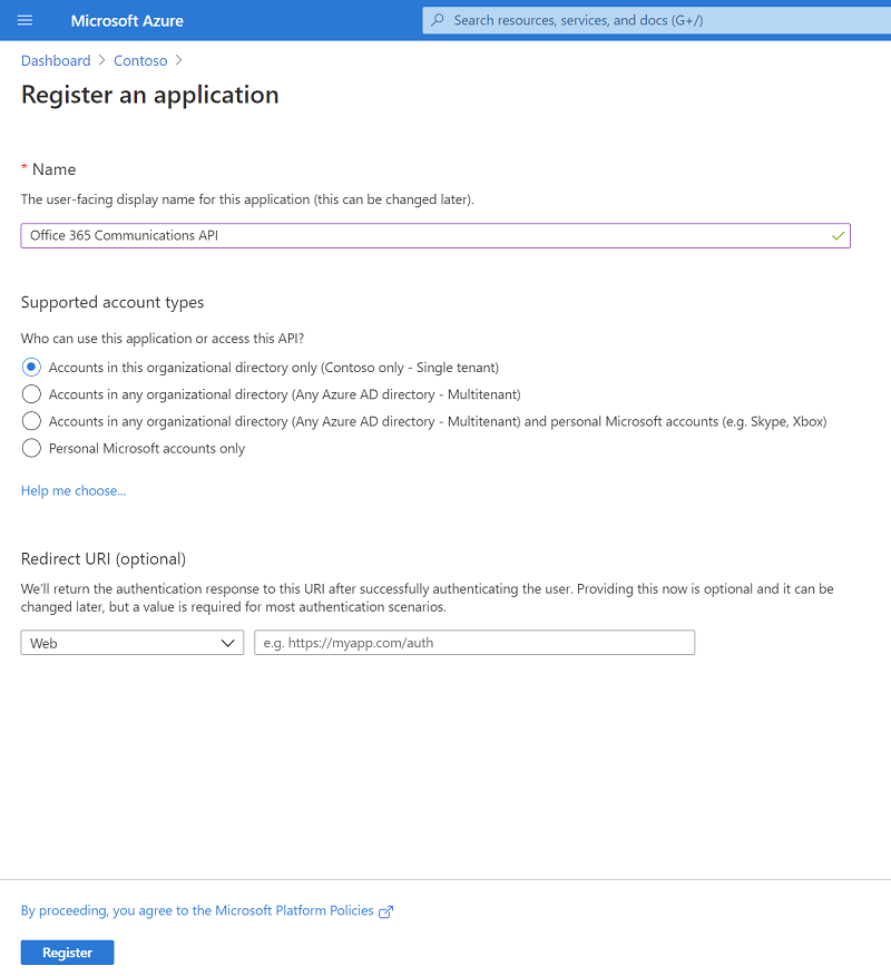 Azure Active Directory - Registering a new application
