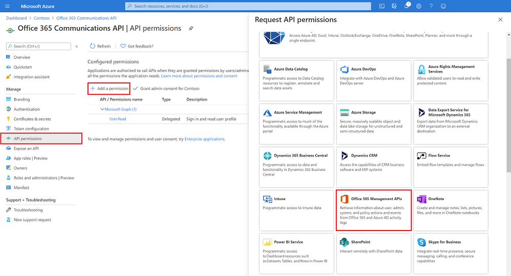 Adding the O365 Management API to the newly created app registration