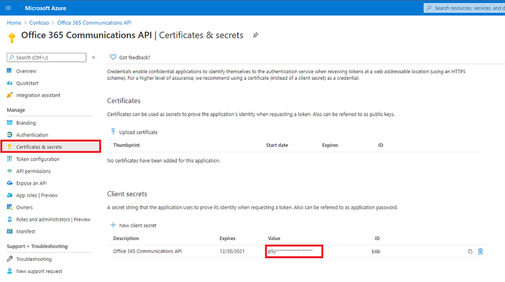 Certificates & Secrets - Highlighted value