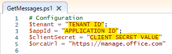 Editing the PowerShell script to include tenant ID, app ID, and client secret