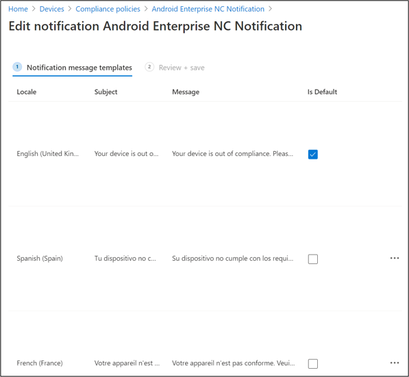 Notification message templates settings