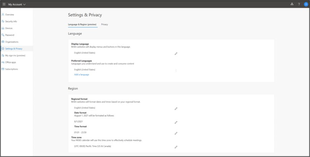 Microsoft 365 - Settings & Privacy - Display Language setting