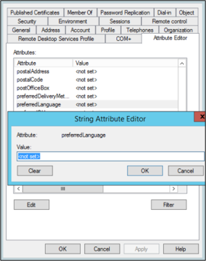 preferredLanguage setting for a user object in local Active Directory