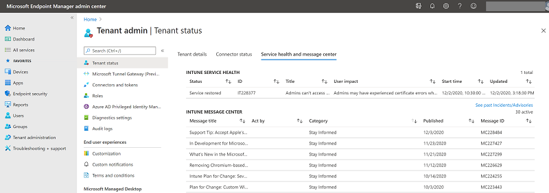 Microsoft Endpoint Manager admin center - Service health and message center blade