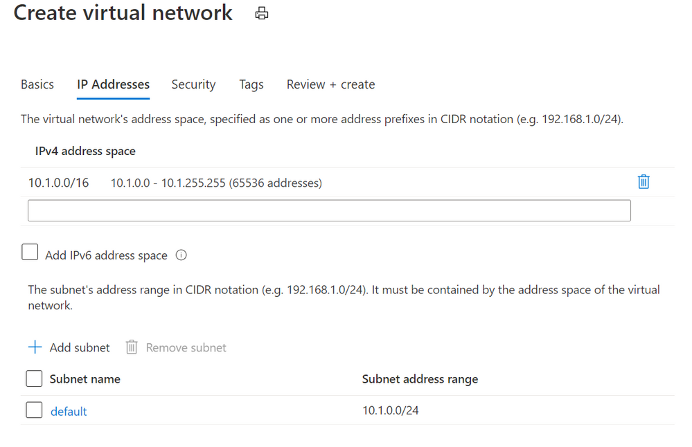 Azure Virtual Networks add dialog
