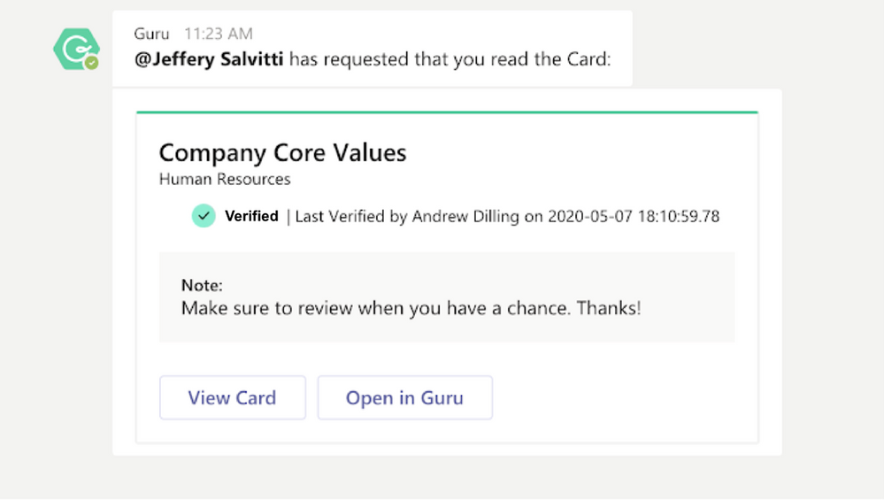 Notifications and updates from Guru within Microsoft Teams
