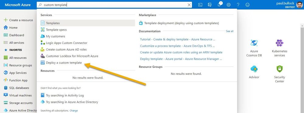 Deploy a template option in the Azure Portal