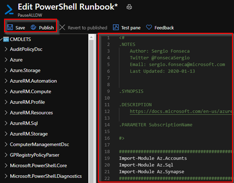 2021-01-16 17_20_04-Edit PowerShell Runbook_ - Microsoft Azure and 7 more pages - Work - Microsoft .png
