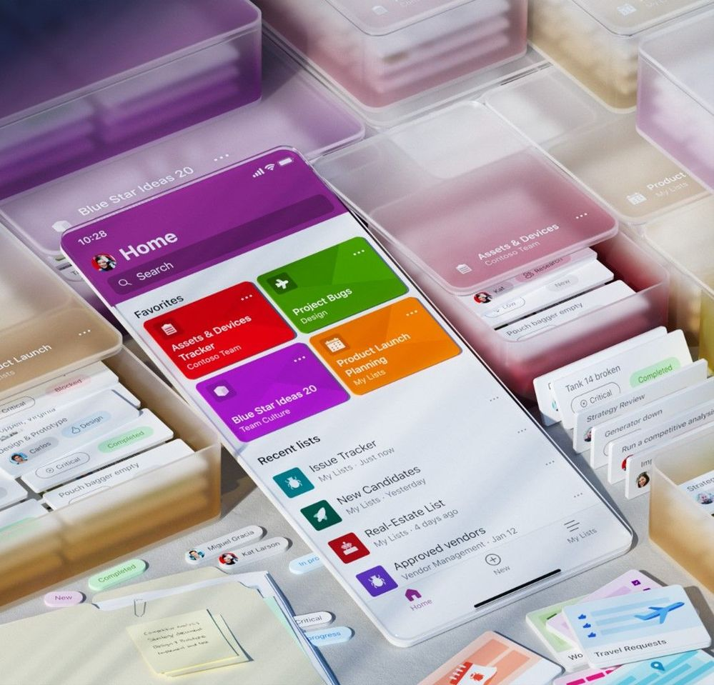 The Microsoft Lists app for iOS provides direct access to your favorite and recent lists, offline, capture photos, edit items, configure views, create using ready-made templates, and more.