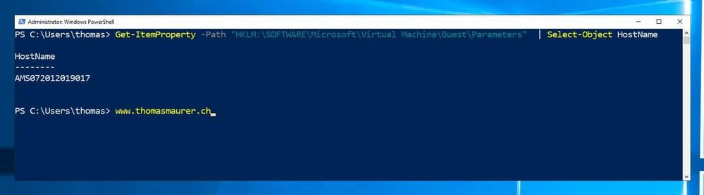 Get physical hostname of a Hyper-V VM using PowerShell (Azure VM)