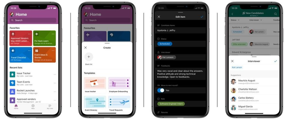 Left-to-right: screenshot examples of the Microsoft Lists app for iOS: Home screen, creating a new list – including from a ready-made template, editing an item (showing dark mode), and editing a person field using global address lookup (GAL).