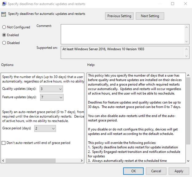How to set deadlines for automatic updates and restarts using Group Policy