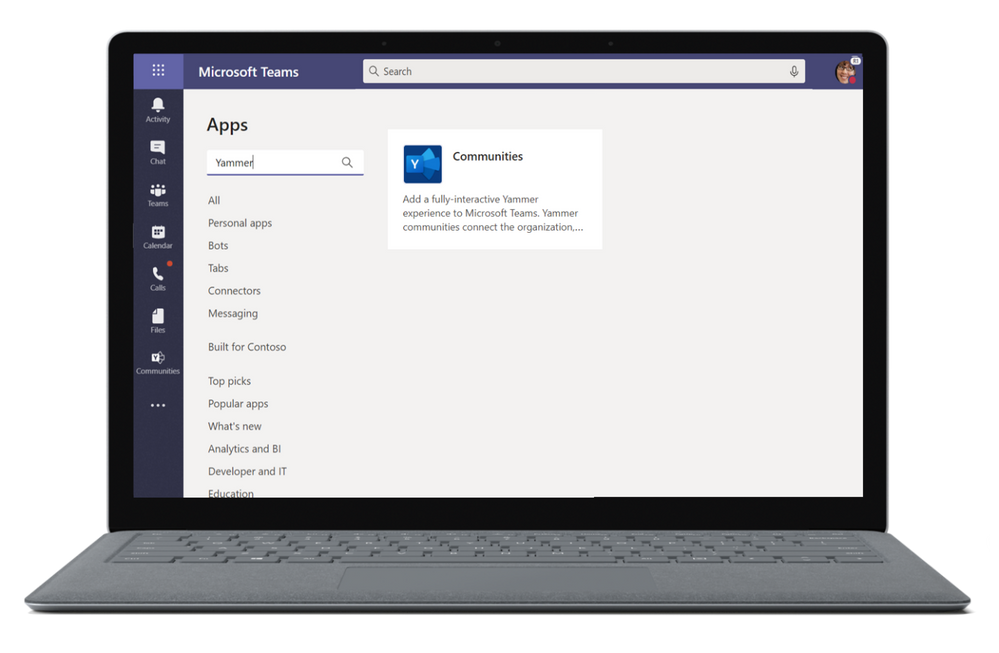 Install the Communities app, powered by Yammer, from the app store in Microsoft Teams.