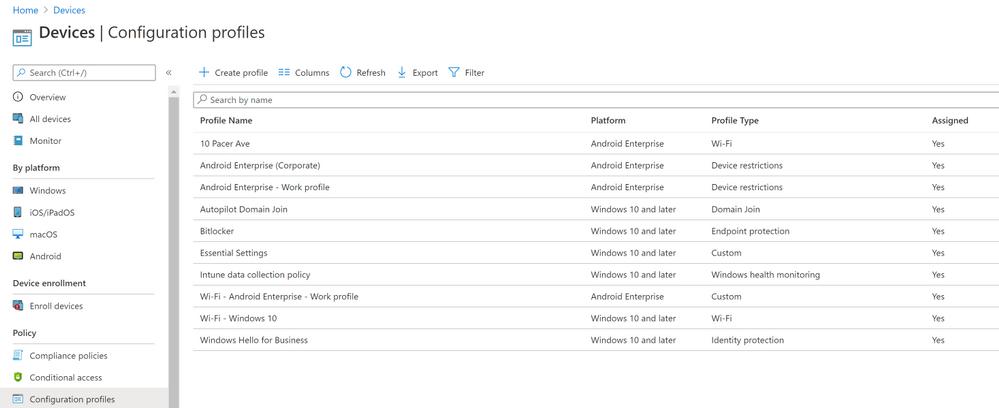 Device Configuration Profiles (GUI)