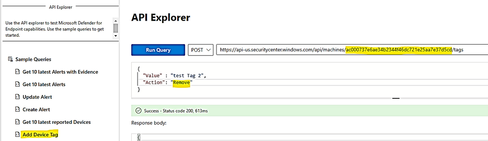 thumbnail image 8 of blog post titled              Microsoft Defender for Endpoint Adding Tags for Multiple Devices  from CSV List
