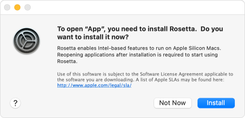 macOS installation prompt for Rosetta