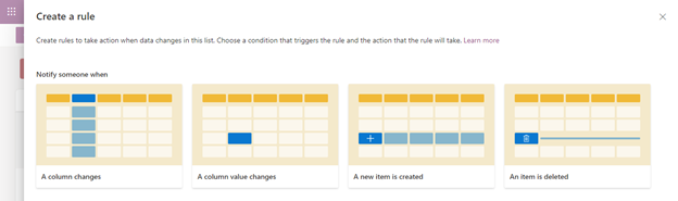 "Click the Automate drop-down menu, and then select ""Create a rule"" to begin creating rules for your list."