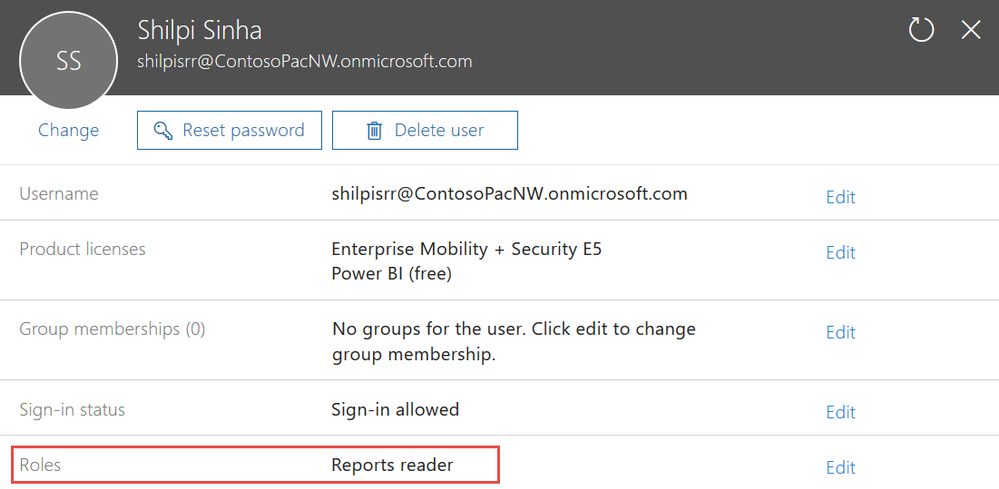 Use the reports reader role to provide access to the reports