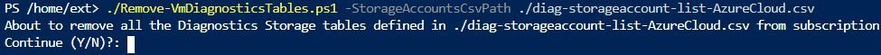 Example of the PowerShell invocation of the script that removes the Diagnostics Tables from the Storage Accounts
