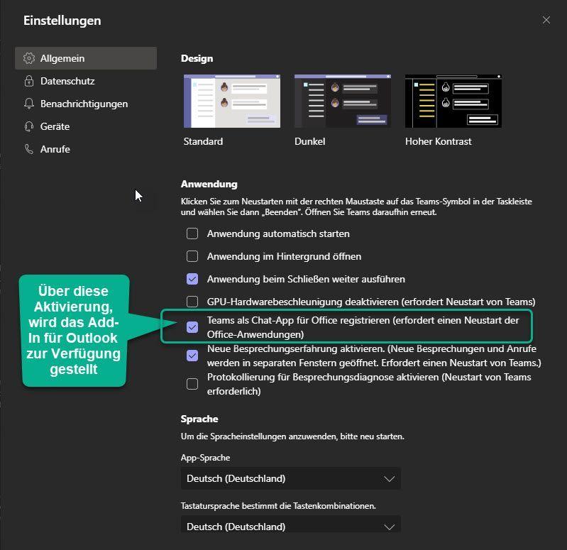 AddIN Aktivierung in Microsoft Teams