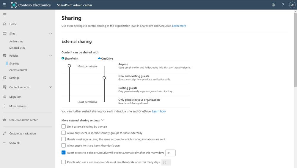 Manage internal and external sharing via the SharePoint admin center.