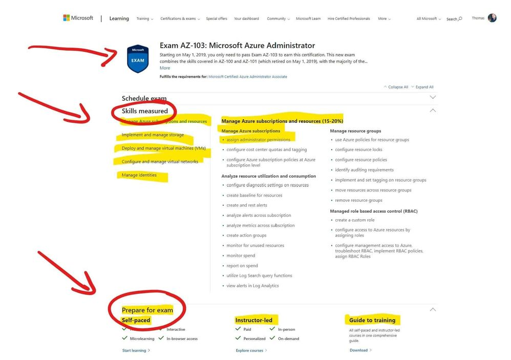 Microsoft Azure Exam Page – Skills measured and prepare for the exam