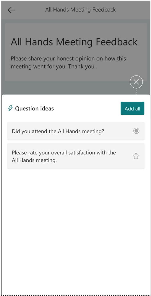 Forms in Office mobile app - intelligence