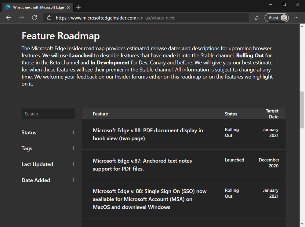 screenshot of Feature Roadmap from Microsoft Edge Insider website