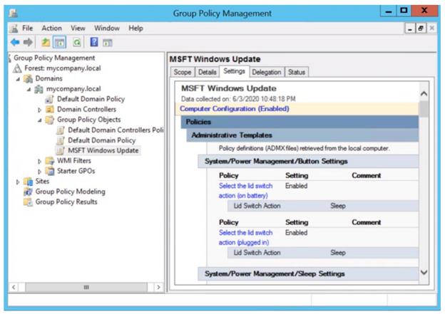 You can then view the Update Baseline GPO (MSFT Windows Update) in the GPMC.
