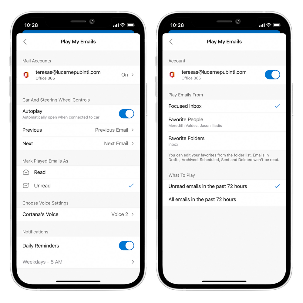 Personalize your Play My Emails experience in Outlook