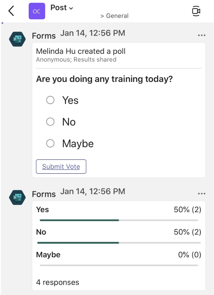 Poll in Teams Channel