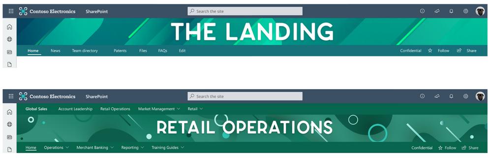 Brand Pattern samples for extended SharePoint site header