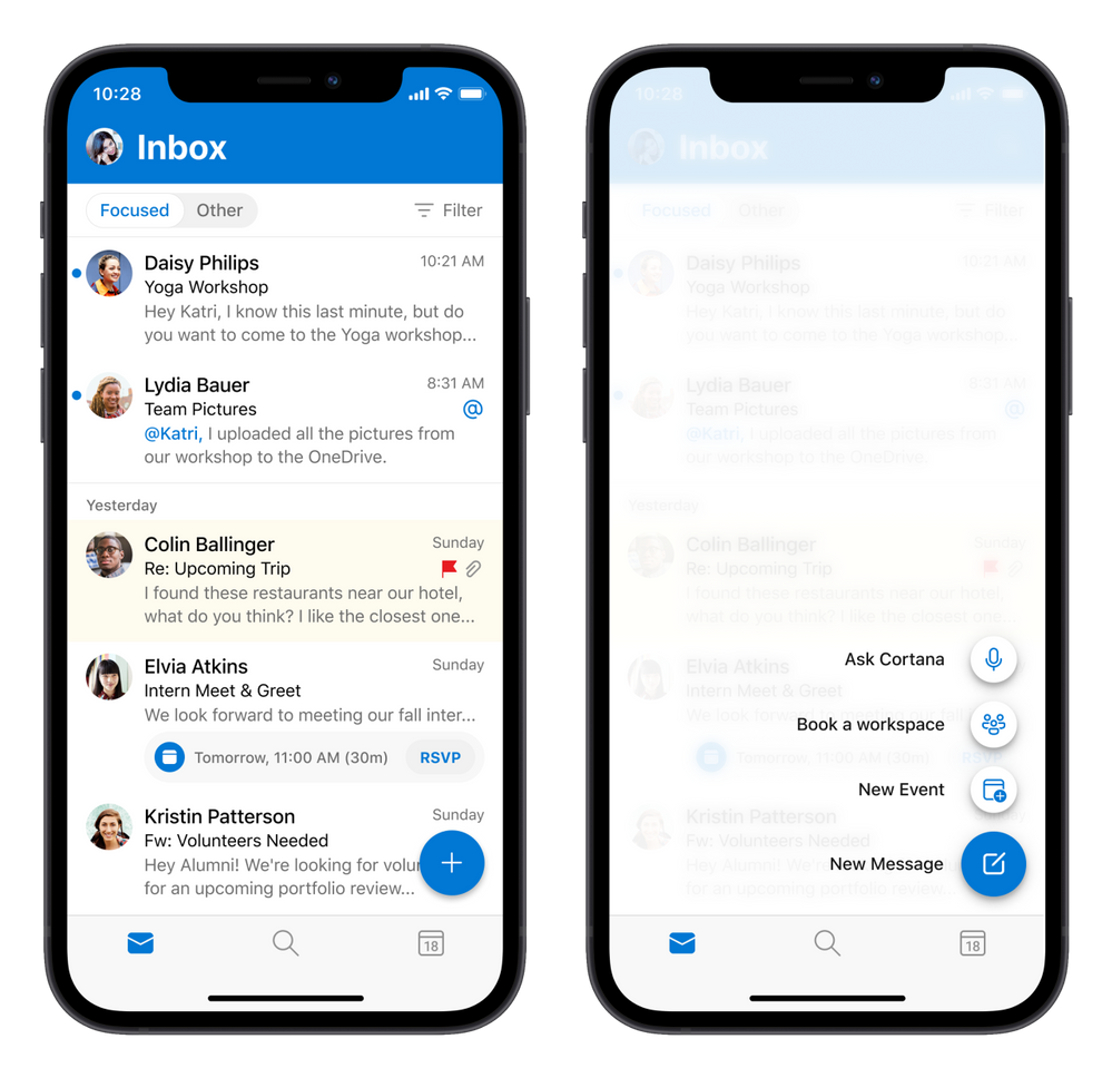 Long press the new message button in Outlook for iOS